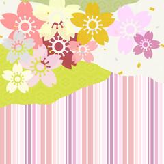 桜 矢鱈縞 和紙風 背景