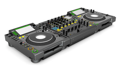 DJ music mixer isolated