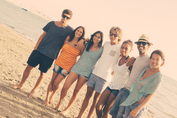 Multiethnic Group of Friends at Beach