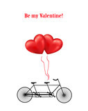 Bicycle and heart balloons background