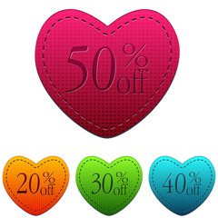 valentines day sale and different percentages rebate in hearts b