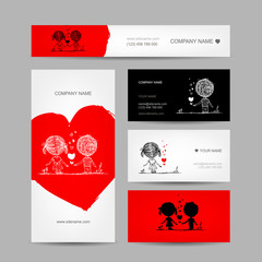 Couple kissing, valentine cards for your design