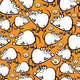 cute white mouse seamless pattern