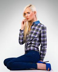 Beautiful fashionable girl in shirt