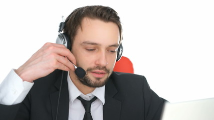 Call centre operator answering a query