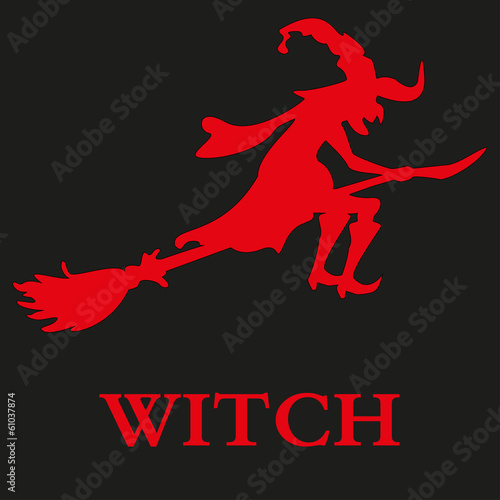 Halloween witch. Silhouette. Isolated. Vector