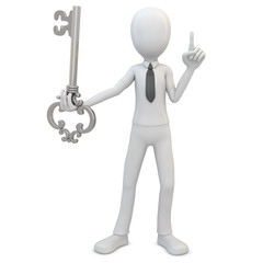 3d man with silver key
