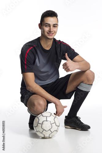 canvas print picture junger Fussballer Daumen hoch