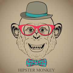 Hipster Fashion Hand Drawing Illustration of Monkey