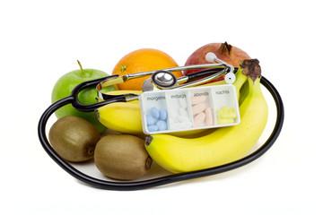 obst und stethoskop