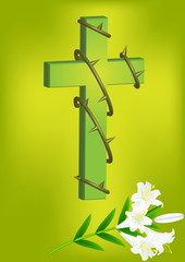 christian cross and white lily  3