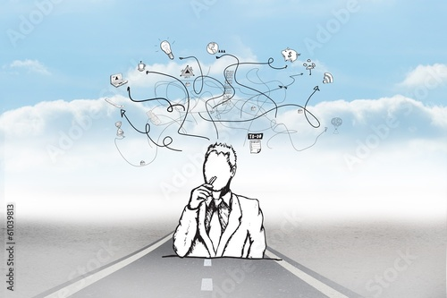 Composite image of thinking businessman doodle