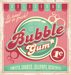 Vintage poster template for bubble gum