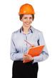 Cute woman engineer in protective helmet