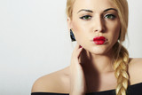 Beautiful Blond Woman with Heart on the Lips.Beauty Red Sexy