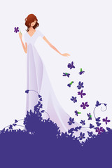 spring-young-woman-violets