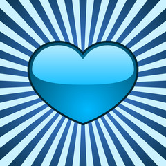 Vector background with glossy blue heart