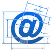 Email symbol with dimension lines for blueprint drawing