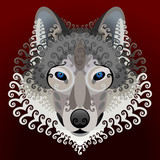 Wolf's face with swirls. Vector image front view of wolf head