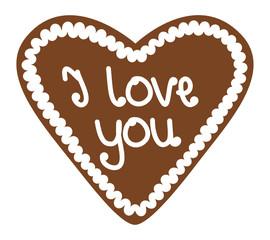 "Gingerbread Heart ""I love you"""