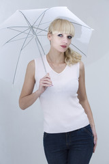 Woman with white umbrella