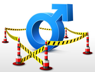 Male symbol located in restricted area with barrier tape