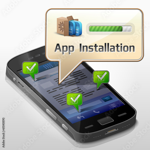 Smartphone with message bubble about app installation