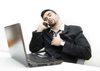 Businessman fell asleep exhausted from work
