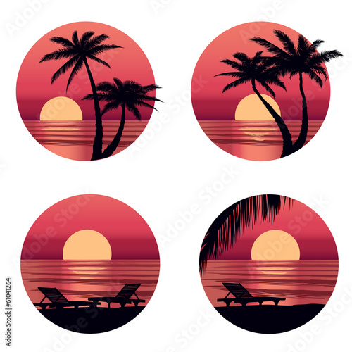 Sunset view in beach with palm tree. Summer holiday icon set
