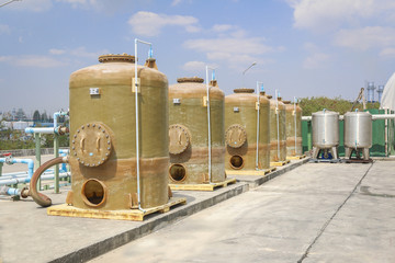 Chemical tank storage with PVC pipe line
