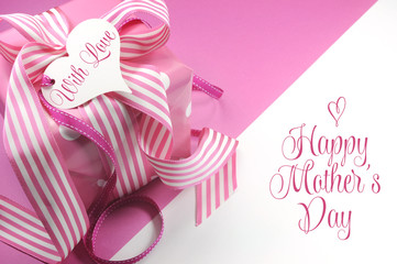 Beautiful pink gift with Happy Mother's Day greeting