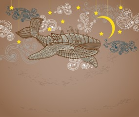 Steampunk whale in night sky