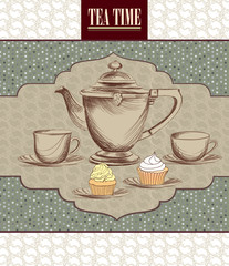Tea time vintage label. Cup and kettle on vintage pattern