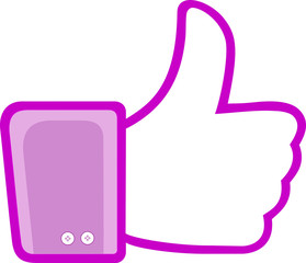 Like pink Thumbs up isolated Sign Daumen hoch exempted