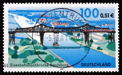 Postage stamp Germany 2001 Rendsburg Railway Bridge