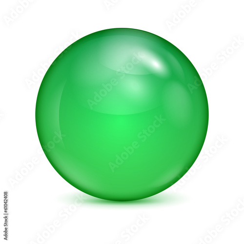 green glass bowl isolated on white background.shiny sphere.vecto
