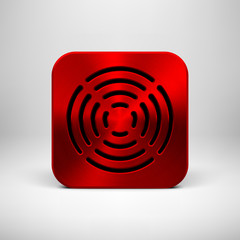 Red Abstract App Icon Template with Metal Texture