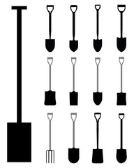 Black silhouettes of shovels and villas, vector illustration