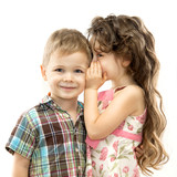 Fototapety Little girl whispering something to boy