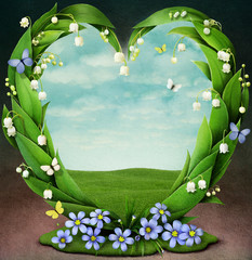 Frame with spring flowers in shape of heart
