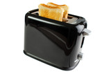 Black toaster with bread slices , isolated on white