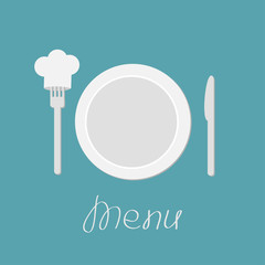 Plate, knife and chefs hat on the fork. Menu card. Flat design s