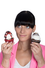 Beautiful girl holding a delicious cupcake...