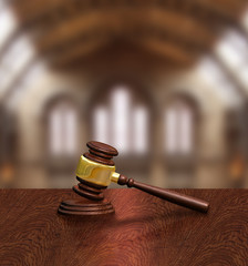 Judges gavel in courthouse, justice concept