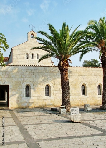 Church of Multiplication Facade in Tabgha. Israel