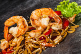 Udon noodles with prawns