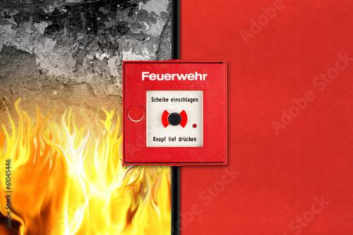 Fotobehang Vuur / Vlam Feueralarm Konzept