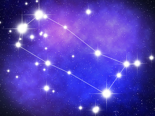 Gemini Zodiac sign bright stars in cosmos