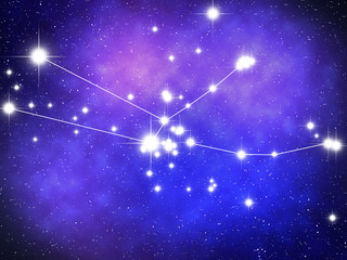 Taurus Zodiac sign bright stars in cosmos