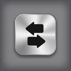 Synchronization icon - vector metal app button